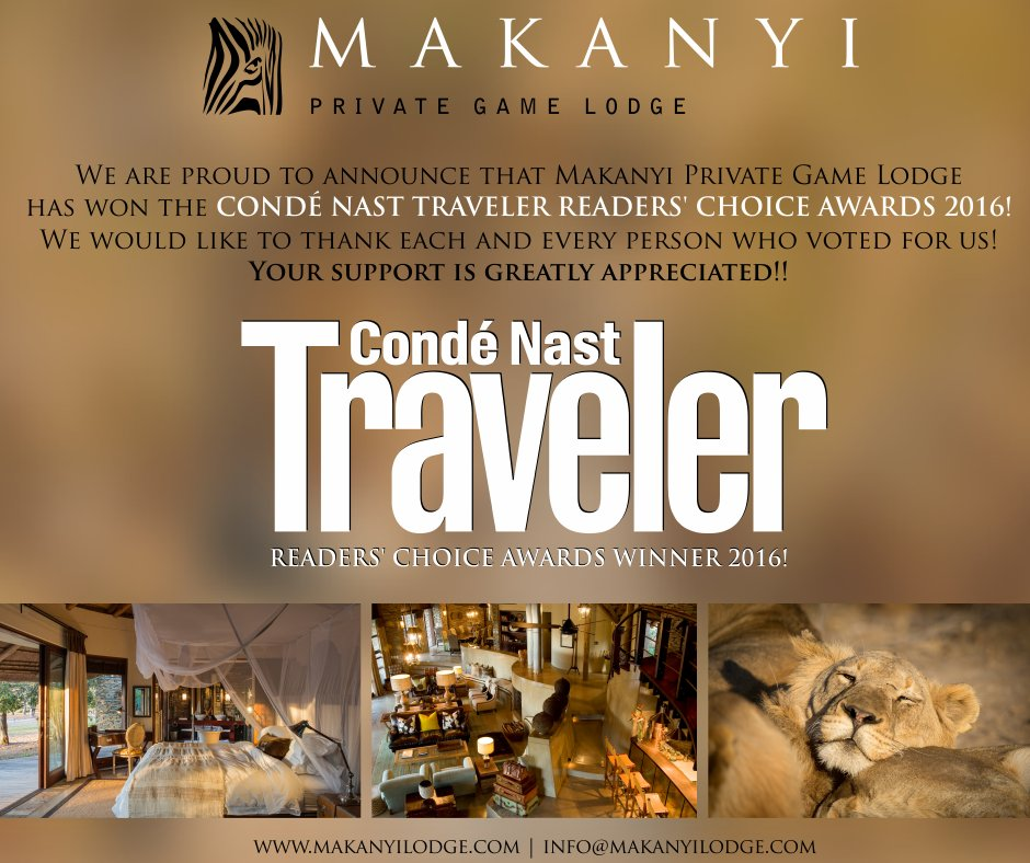 voted by Condé Nast Traveler US #4 in Africa and #10 of the 50 Best Resorts in the World